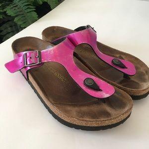 Birkenstock Hot Pink Metalic Thong Sandals